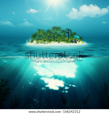 Alone island in the ocean, abstract environmental backgrounds - stock photo