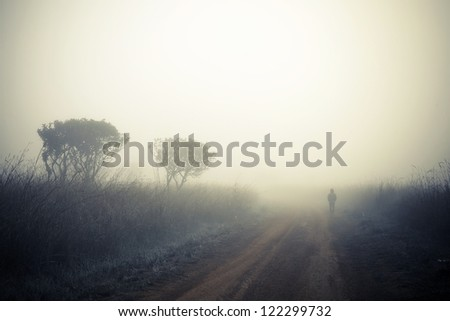 Alone man walking in a fog. - stock photo