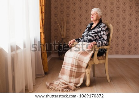 Alone Old Woman Sitting Chair By Stock Photo (Royalty Free ...