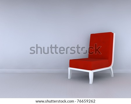 Alone red chair in minimalist interior