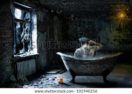 Alone sad man taking bath in abandoned room at night - stock photo