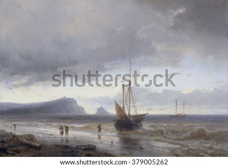 Along the Coast, by Louis Meijer, 1840-50, Dutch painting, oil on panel. Small ship is beached as disembarked fisherman carry off the day's catch. - stock photo