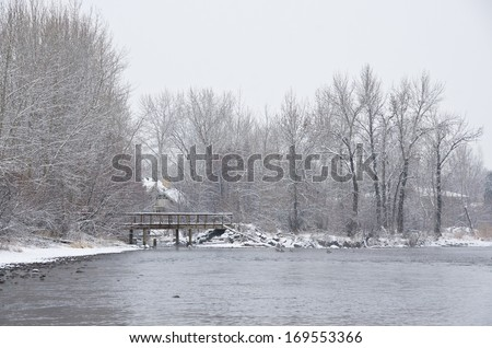 Along the River after a Fresh Snowfall - stock photo