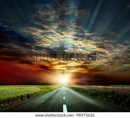 along the road - stock photo