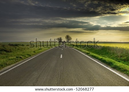 along the road in the morning - stock photo