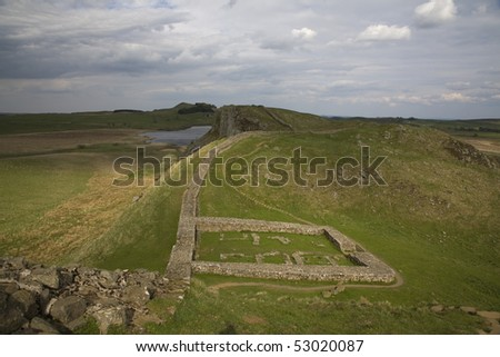 Along the Roman Wall there are Mile Castles and this one is just beyond Cragg Lough - stock photo