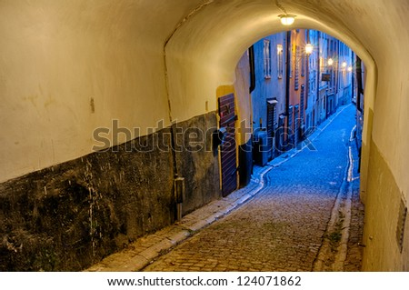 Along the streets of The Old Town (Gamla Stan) in Stockholm - stock photo