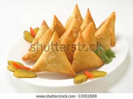 Aloo Samosa Fried - stock photo