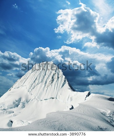 Alpamayo peak in Cordilleras mountain,Peru - stock photo
