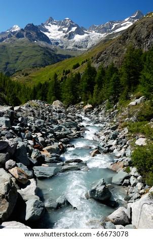 Alpes mountain river - stock photo