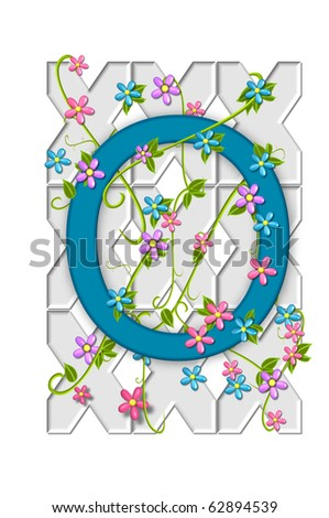 "Alpha O in the alphabet set ""Garden Trellis"" hangs on a white garden trellis and has vines and flowers growing around and through it."