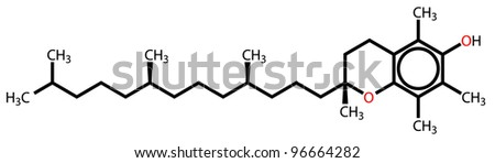 Alpha-Tocopherol (vitamin E) structural formula - stock photo