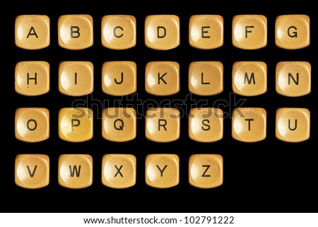 Alphabet A to Z , grunge typewriter keys in black background - stock photo