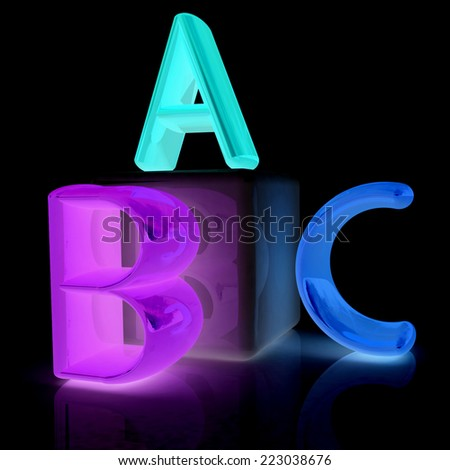 alphabet and blocks on a black background - stock photo