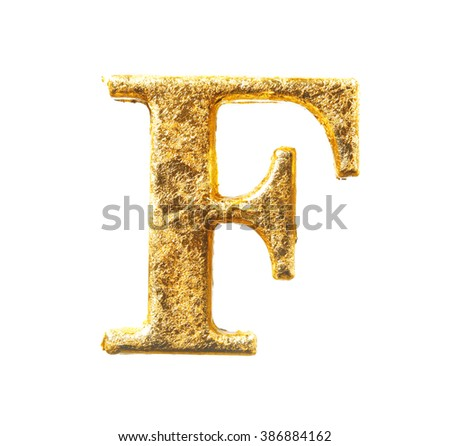 Alphabet and numbers in gold leaf isolated on white