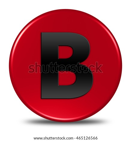 Alphabet B button isolated. 3D illustration / 3D rendering.