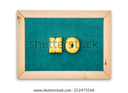 "Alphabet Biscuits ,word "" NO "" on chalkboard background. - stock photo"