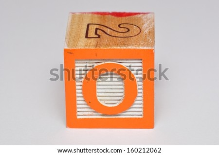 Alphabet block O isolated on a white background - stock photo