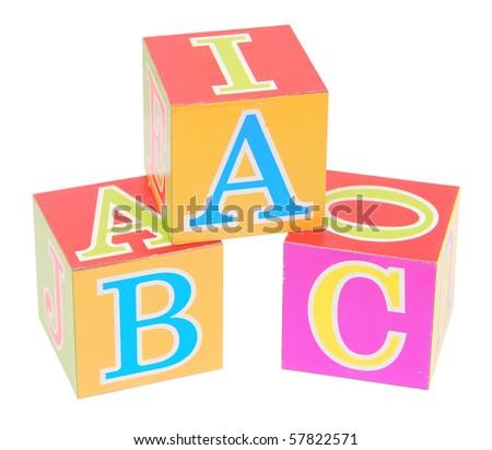alphabet blocks isolated on white - stock photo
