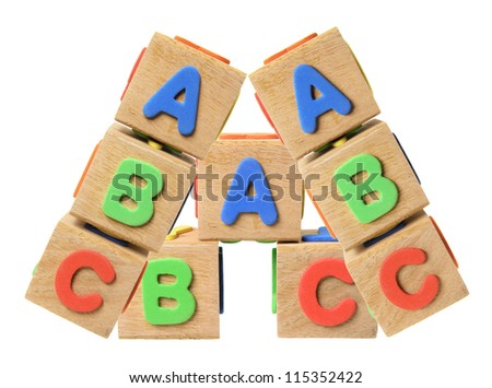 Alphabet Blocks on White Background - stock photo