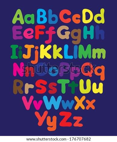 Alphabet bubble colored hand drawing - stock photo