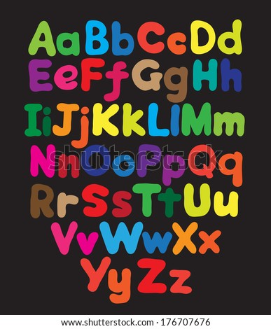 Alphabet bubble colored hand drawing in black background - stock photo