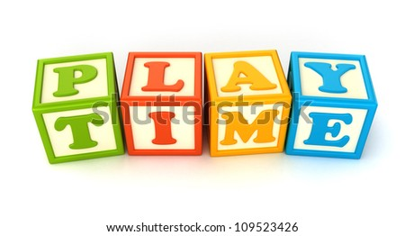 Alphabet building blocks that spelling the word play time - stock photo