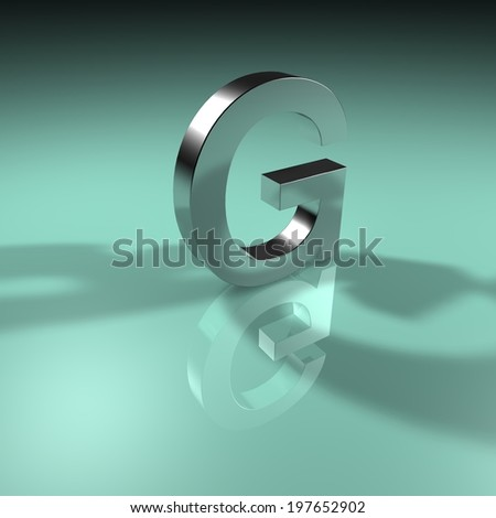Alphabet collection, Green Turquoise. 3D - G - stock photo