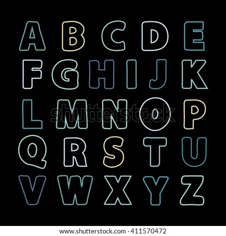 Alphabet color line .Alphabet . alphabet. Alphabet isolated. Alphabet flat style. Color Alphabet. font isolated on black background . Type.