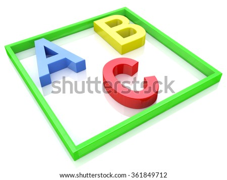 Alphabet Concept. ABC squared in the design of the information related to the pre-school education - stock photo