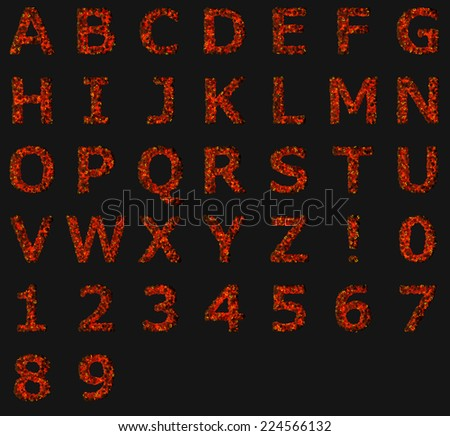 Alphabet consisting of pumpkins. Halloween alphabet Isolated on black.
