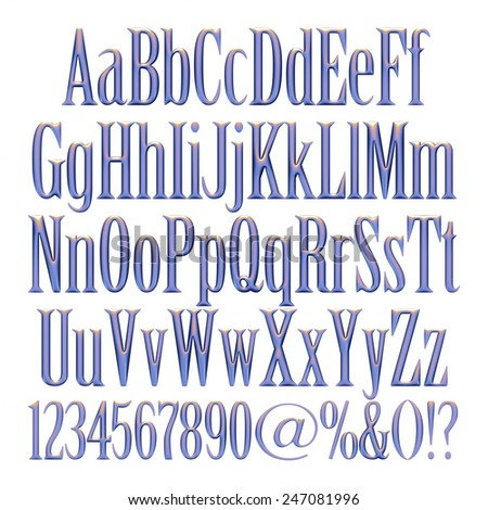Alphabet - 3d letters from blue violet metallic with numbers. Objects over white - stock photo