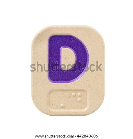 alphabet D on white background  with Braille. - stock photo