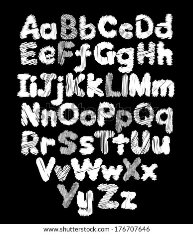 Alphabet doodle hand-drawing in black background - stock photo