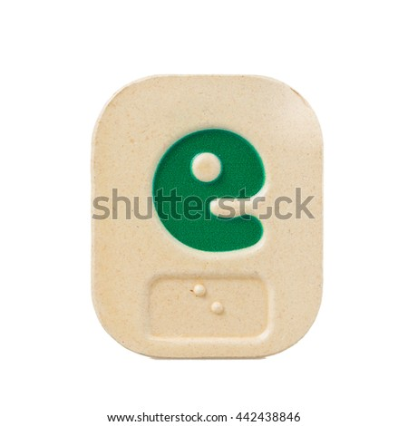 alphabet e on white background  with Braille. - stock photo