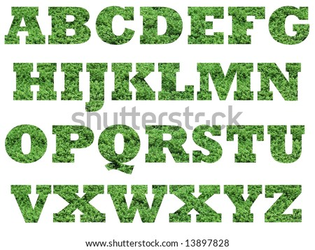 Alphabet font with green nature background