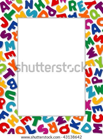 Alphabet Frame, White Background: Copy space for education, literacy, back to school announcements, posters, fliers, stationery, scrapbooks & albums. - stock photo