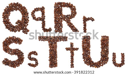 alphabet from coffee beans isolated on white background