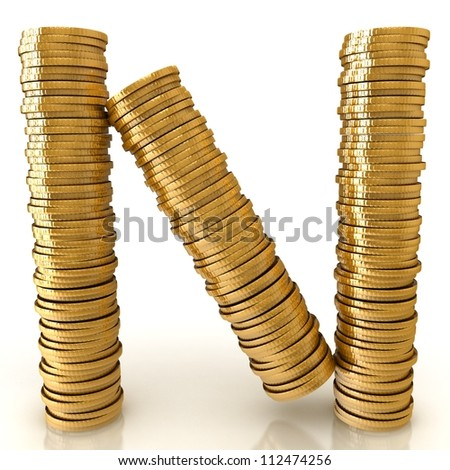 Alphabet from golden coins. - stock photo
