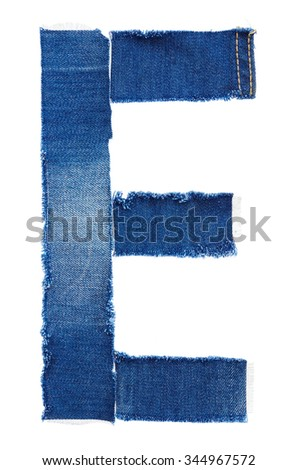 Alphabet from jeans fabric isolated on white background. Letter E - stock photo