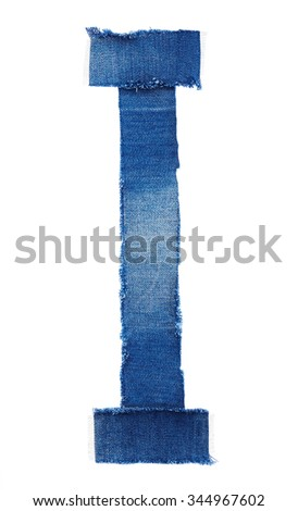 Alphabet from jeans fabric isolated on white background. Letter I - stock photo