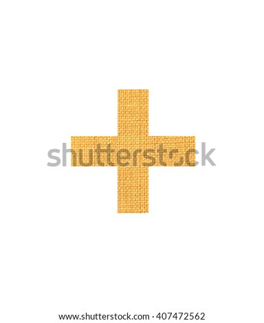 Alphabet from light yellow fabric isolated on white background. Plus sign - stock photo