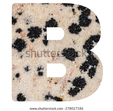 Alphabet from mineral porphyry  isolated on white background -  letter B. - stock photo