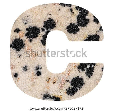 Alphabet from mineral porphyry  isolated on white background -  letter C. - stock photo