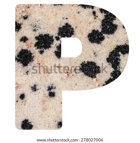 Alphabet from mineral porphyry  isolated on white background -  letter P. - stock photo