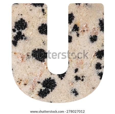 Alphabet from mineral porphyry  isolated on white background -  letter U. - stock photo