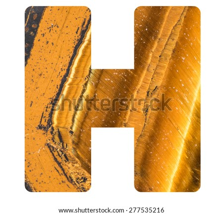 Alphabet from mineral tiger eye  isolated on white background -  letter H. - stock photo