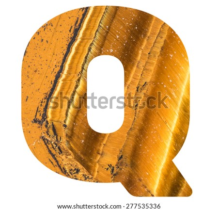 Alphabet from mineral tiger eye  isolated on white background -  letter Q. - stock photo