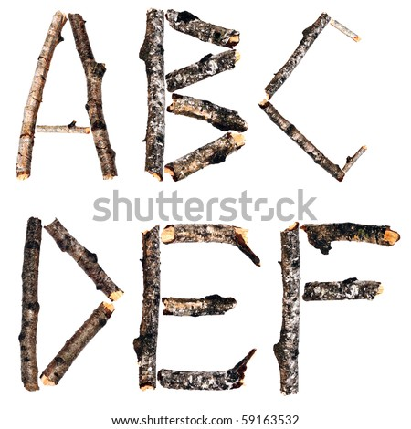 Alphabet from the dry branches of birch are isolated on a white background - stock photo