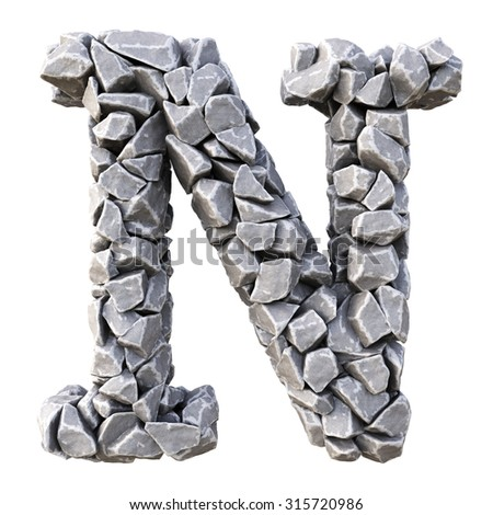 Alphabet  from the stones. isolated on white background. - stock photo